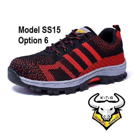Detailed image for KTG (KaiTheGent) steel toe sports safety work shoes model SS15 - option 6. Red non-reflective stripes. Single Side. K.T.G