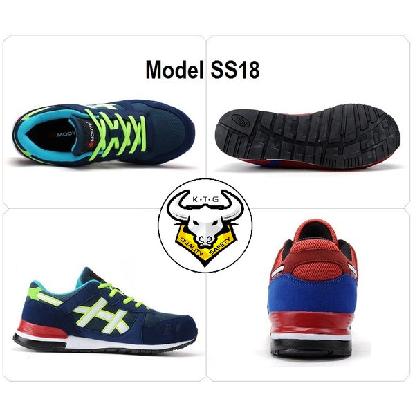 KTG steel toe sports safety work shoes model SS18 - Option 4 Royal Blue design all angles view.