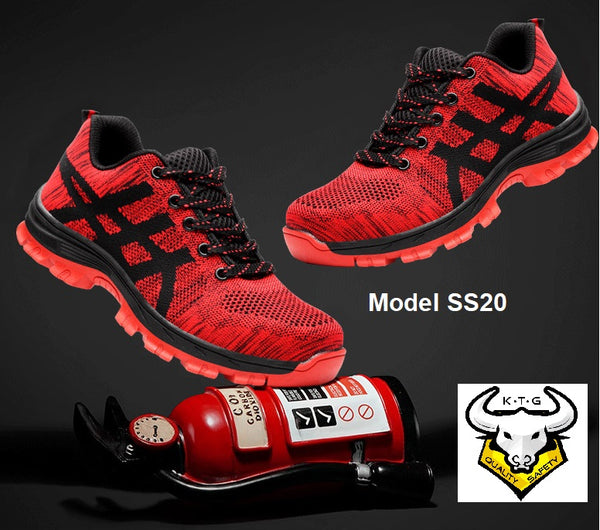KTG (KaiTheGent) Steel toe safety shoes SS20 display with fire extinguisher.
