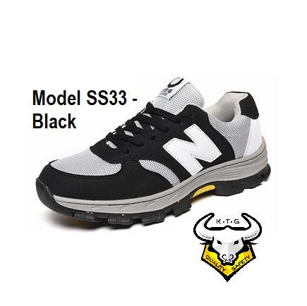 Model SS33 - Black KTG (KaiTheGent) steel toe & steel sole sports safety work shoes