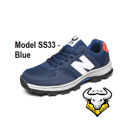 Model SS33 - Blue KTG (KaiTheGent) steel toe & steel sole sports safety work shoes
