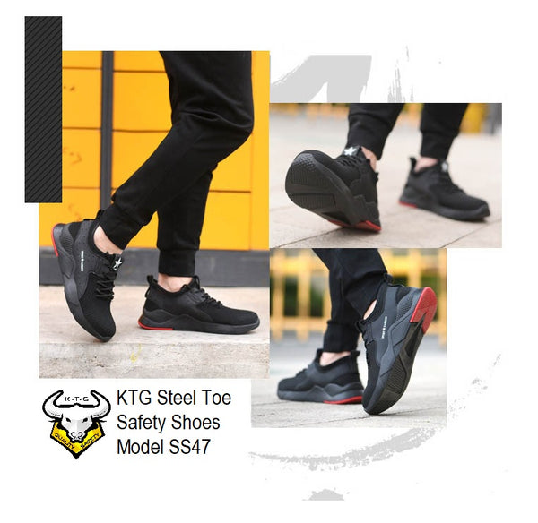 Model wearing KTG Safety Steel Toe Sports Safety Shoes Model SS47 - Knitted Mesh Black Red Sole - Kevlar anti smash display from all angles