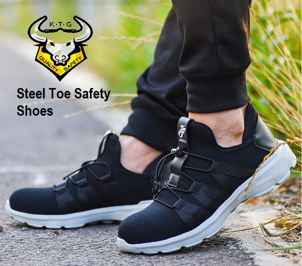 Model wearing KTG Safety Steel Toe Sports Safety Shoes Model SS40 - Knitted Mesh Black - Kelvar anti smash