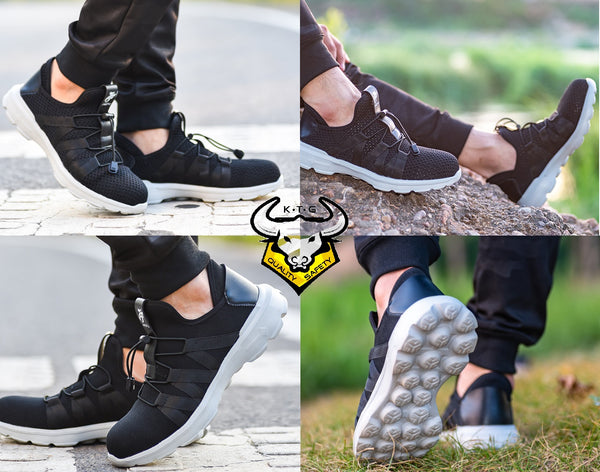 Model wearing KTG Safety Steel Toe Sports Safety Shoes Model SS40 - Knitted Mesh Black - Kelvar anti smash display from all angles