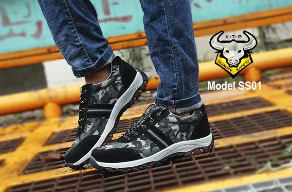Model wearing KTG SS01 - camo white safety shoes