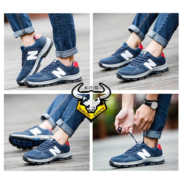 Model wearing SS33 - Blue KTG Safety steel toe sports safety work shoes from different angles