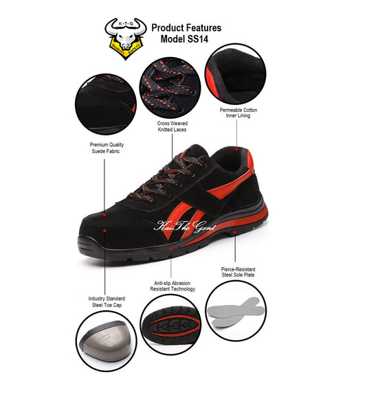 Product breakdown for KTG (KaiTheGent) Steel Toe Sports Safety Shoes Model SS14 - Option 4 Suede Black Red Winter Version with fur lining. K.T.G