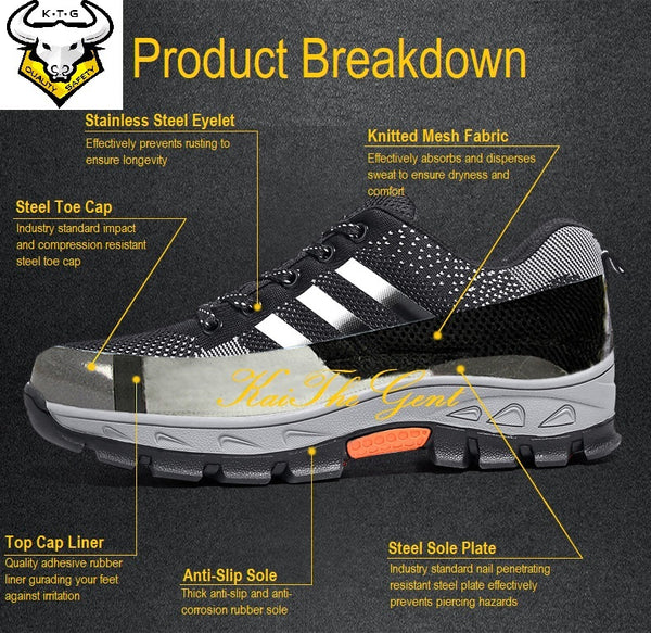 Product breakdown for KTG (KaiTheGent) Steel Toe Sports Safety Shoes Model SS15 - Option 2. K.T.G