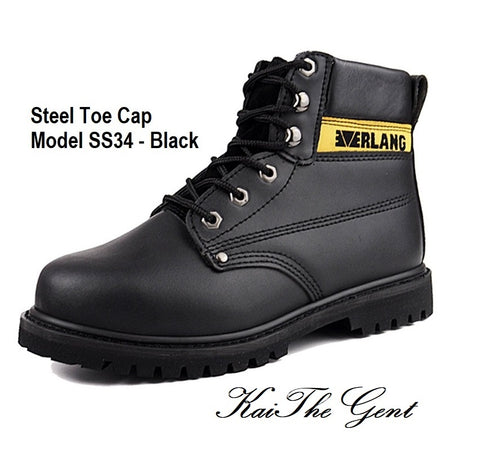 Detailed images of steel toe safety work boots SS34 - Black in Singapore