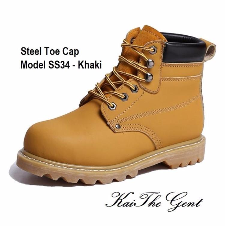 Detailed images of steel toe safety work boots SS34 - Khaki in Singapore