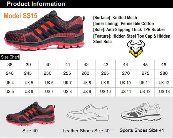 Size chart and recommendations for KTG (KaiTheGent) steel toe sports safety work shoes. Model SS15 - option 1. US, UK, EU size and feet length. K.T.G