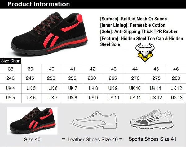 Size chart and recommendations for KTG (KaiTheGent) steel toe sports safety work shoes. Model SS14 - Option 1. Singapore, US, UK, EU size and feet length available.
