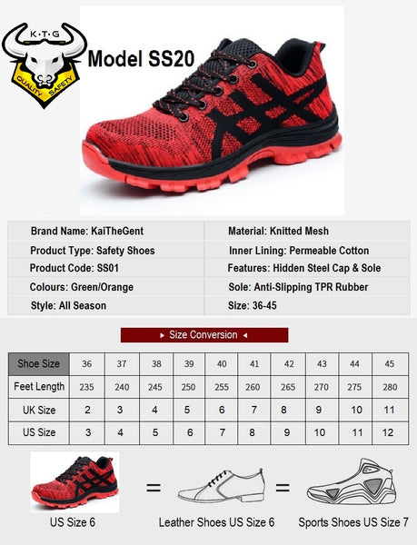 Size chart and recommendations for KTG steel toe sports safety work shoes model SS20 Singapore, EU, JP, US, UK sizes