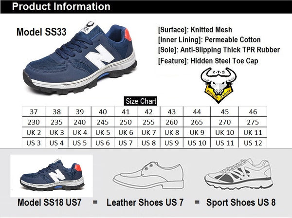 Size chart for KTG (KaiTheGent) steel toe & sole sports safety work shoes SS33
