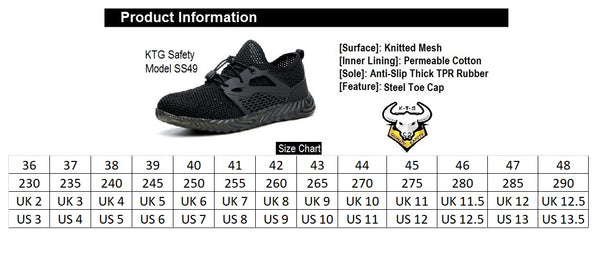 Steel Toe Sports Safety Shoes - Model SS49 - Black