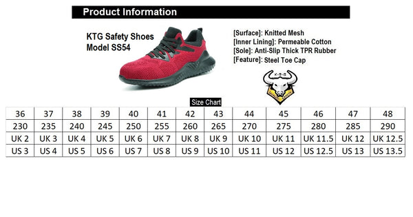Steel Toe Sports Safety Shoes - Model SS54 - Black