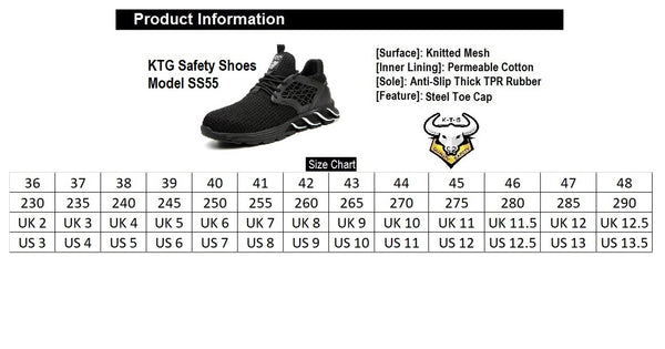 SS55 Black KTG Safety Shoes Size Chart - Steel Toe Anti Piercing Sole. Suitable for United States, Singapore, Indonesia, Malaysia, Hong Kong feet sizes! Small and large feet too!