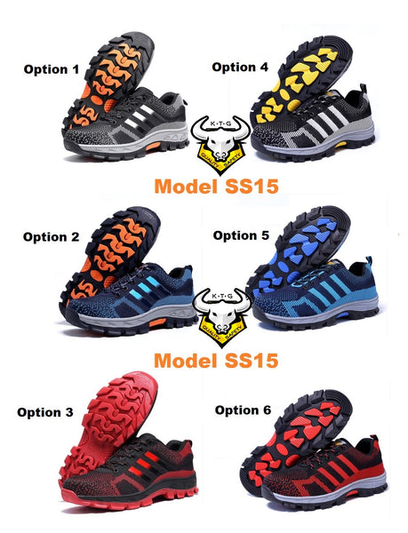 KTG (KaiTheGent) steel toe safety shoes.Option selections for steel toe sports safety work shoes model SS15. Black, Blue or Red with non reflective stripes. K.T.G
