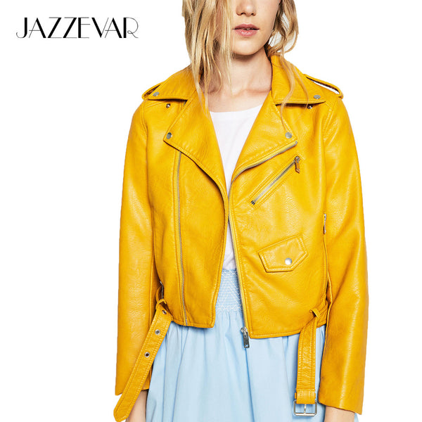 "New Fashion Street Women's Short Washed PU Leather Jacket Zipper  ""+Shiriza.com + Spring + Summer"" Bright Colors New Ladies Basic Jackets Good Quality"