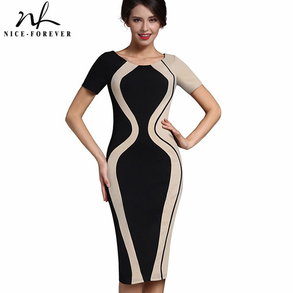 Women Stylish Elegant Casual Work Short Sleeve  O-Neck Bodycon Women Office Pencil Slim Dress