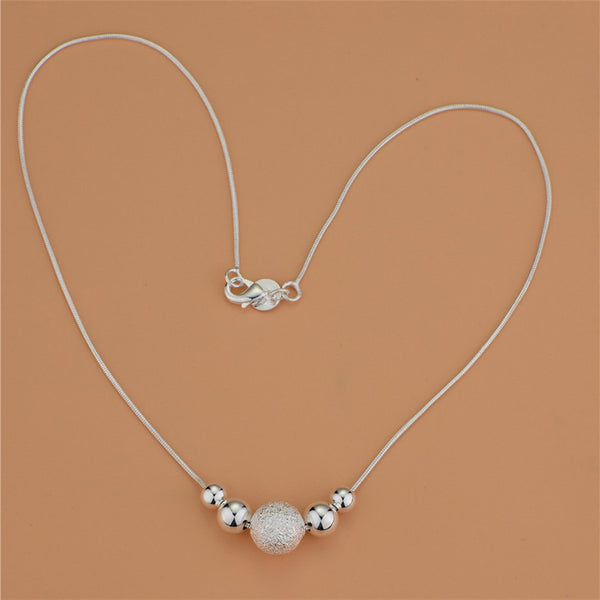 Beautiful fashion Elegant silver plated  charm chain +Shiriza.com  bead pretty Lady Necklace jewelry