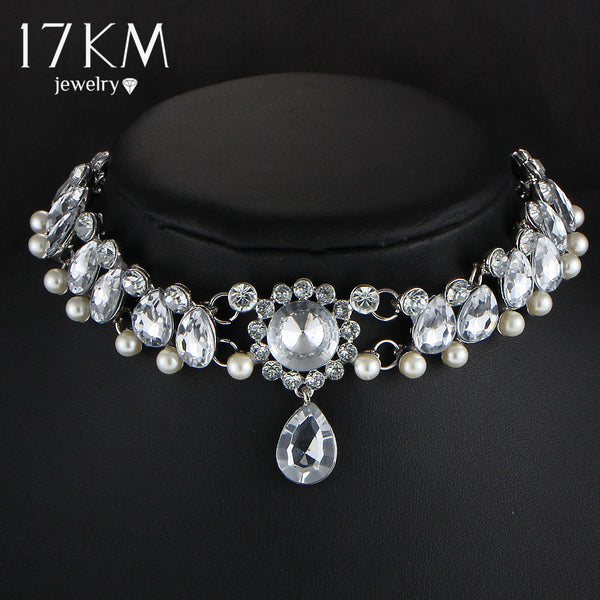 17KM Boho Collar Choker Water Drop Crystal Beads +Shiriza.com  Choker Necklace &pendant Vintage Simulated Pearl Statement Beads Maxi Jewelry