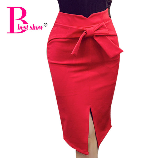 "Ladies Pencil Skirt Plus Size New Fashion Knee Length High Waist  ""+Shiriza.com + Spring + Summer"" Casual Bodycon Skirt Elegant Open Slit Bow Skirt"