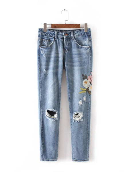 "New women fashion wind flowers embroidered jeans ""+Shiriza.com + women + jeans"""