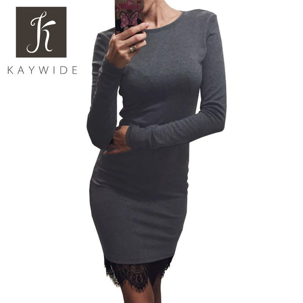 "Women Kaywide Lace Patchwork Ladies Dress O Neck ""+Shiriza.com + Spring + Summer""  Casual Bodycon Party dresses With Tassel  Plus Size Long Sleeve Ladis Dress Vestidos"