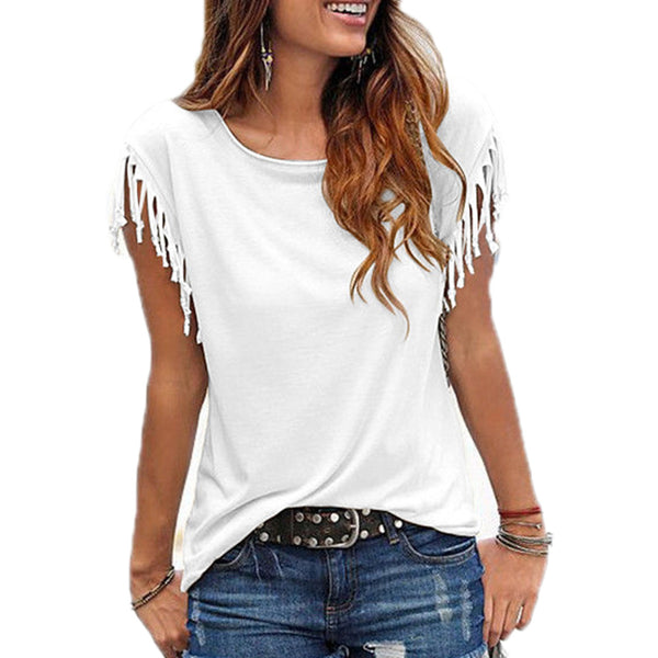 Cotton Tassel Casual Blouses Short-sleeved