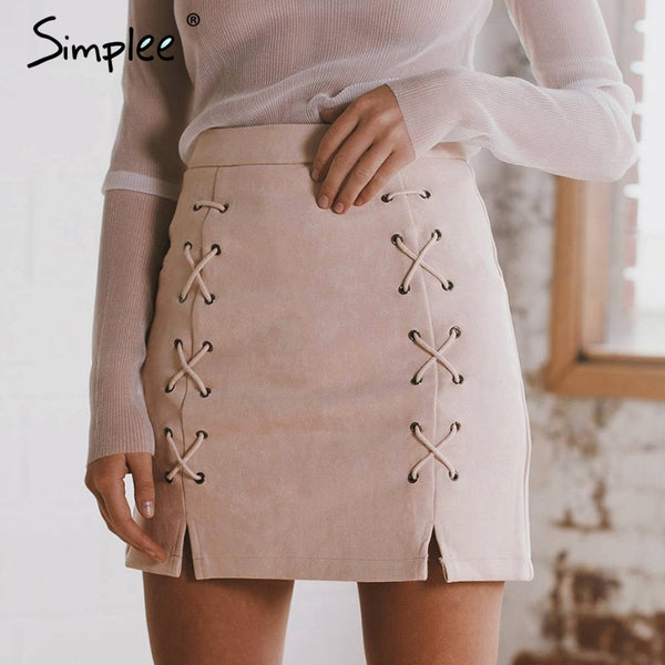 "Women lace up leather suede pencil skirt ""+Shiriza.com + Spring + Summer""  cross high waist skirt Zipper split bodycon short skirts womens"