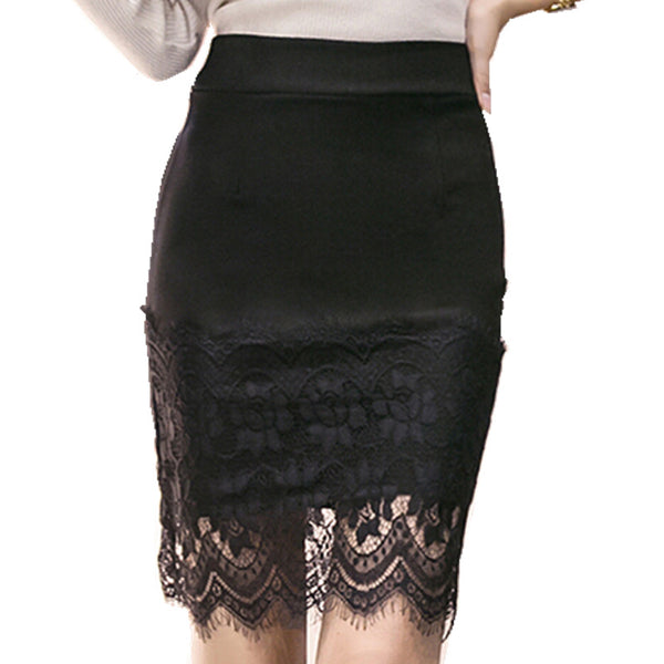 "The new women spring and summer lace stitching step skirt ""+Shiriza.com + Spring + Summer"" sexy slim package hip skirt solid body skirt occupation"