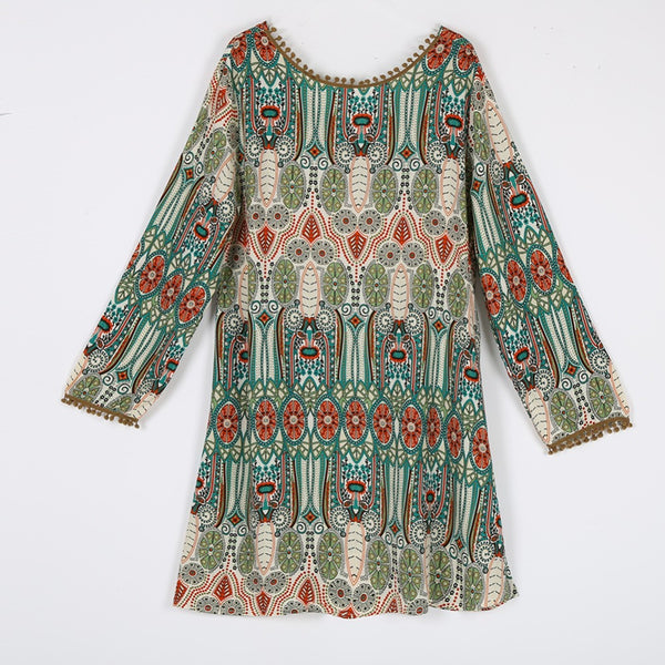 "New Women Fashion Vintage Ethnic Dress ""+Shiriza.com + Spring + Summer"" Sexy Ladies Boho Floral Printed Casual Beach Dress Loose Sundress"