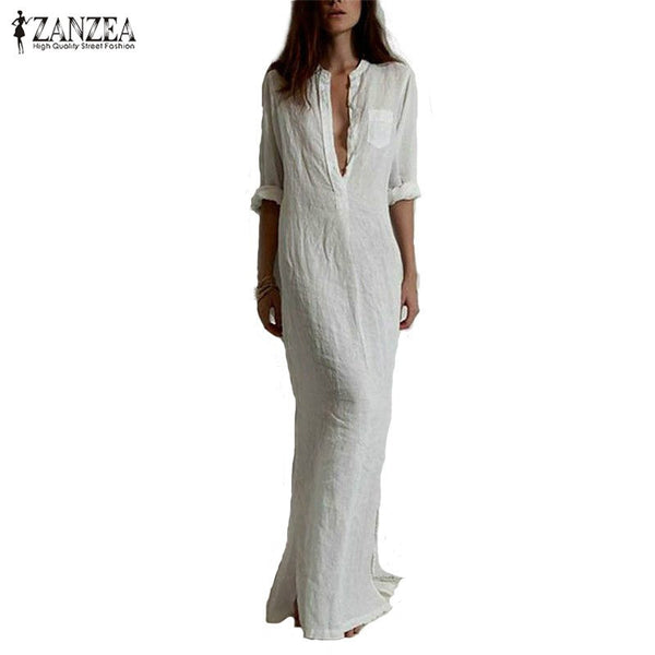 "New Women Fashion Vestidos Ladies Sexy Casual Dress Long Sleeve ""+Shiriza.com + Spring + Summer"" Deep V Neck Linen Split Solid Long Maxi Dress"