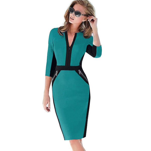 "New Fashion Women Front Zipper Women Work Wear Elegant Stretch Dress ""+Shiriza.com + Spring + Summer"" Charming Bodycon Pencil Midi Spring Business Casual Dresses"