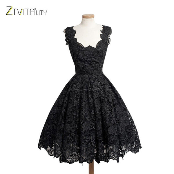 "New Fashion Women Vestidos Elegant Lace Patchwork Solid Sleeveless ""+Shiriza.com + Spring + Summer""  A-Line Fashion Dress Sexy Slim Party Dresses Vestido De Festa"