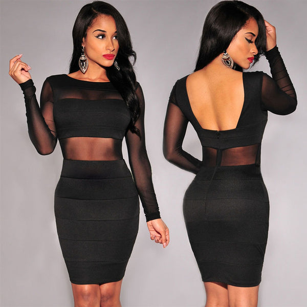 "Women Sexy Bandage Dress New Black White Dress ""+Shiriza.com"" Long Sleeve Mesh Patchwork Hollow Out Pencil Bodycon Dress Female Dresses"