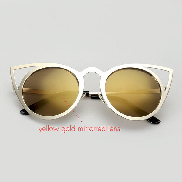 "ROYAL Lady New Women Sunglasses Vintage Cat Eye Sun glasses ""+Shiriza.com + Summer"" Metal Eyeglasses Frames Mirror Shades Sexy Sunnies ss309"