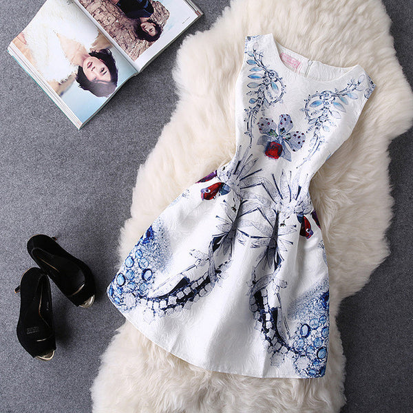 "Ladies Fashion Brand Print Style Sleeveless Vest Casual Dresses ""+Shiriza.com + Spring + Summer"" Ladie Vintage Plus Size Girl Jacquard Eroidery Clothing"