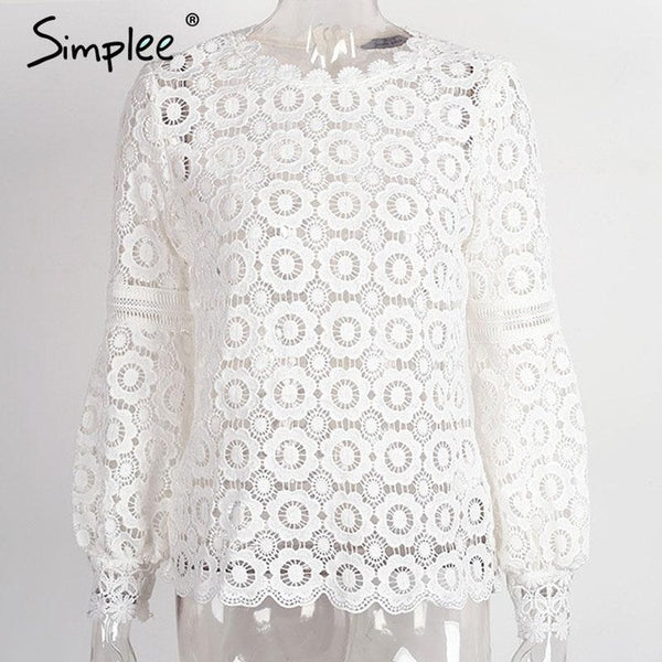 "Women Simplee Elegant floral lace blouse shirt Ladies lantern sleeve ""+Shiriza.com + Spring + Summer"" white blouse hollow out short top blouse blusas"