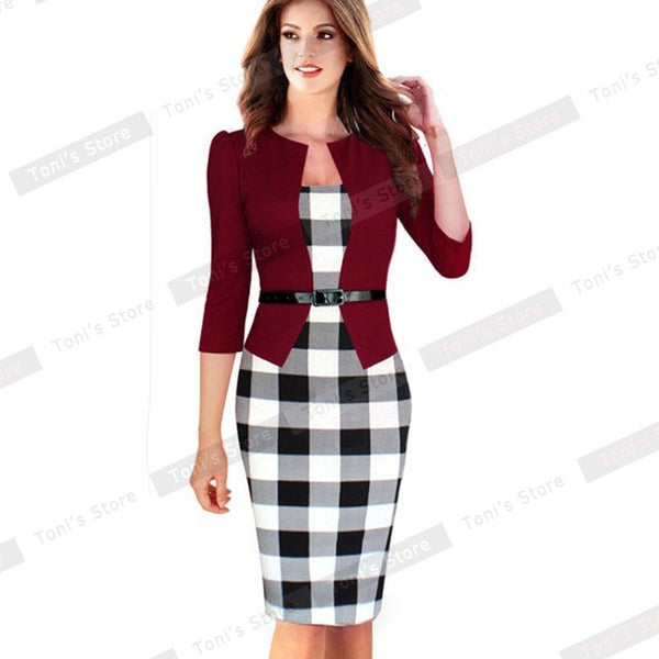 "Women Nice-forever One-piece Faux Jacket Brief Elegant Patterns ""+Shiriza.com + Spring + Summer"" Work dress Office Bodycon Female 3/4 Or Full Sleeve Sheath Dress"