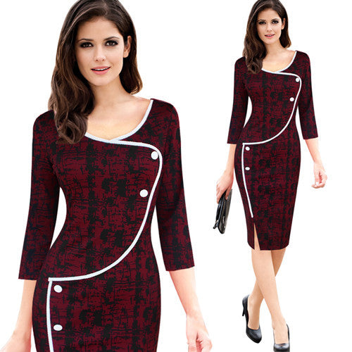 Ladies Vintage Elegant Casual Work 3/4 Sleeve Deep O-Neck Bodycon Knee Office Pencil Dress