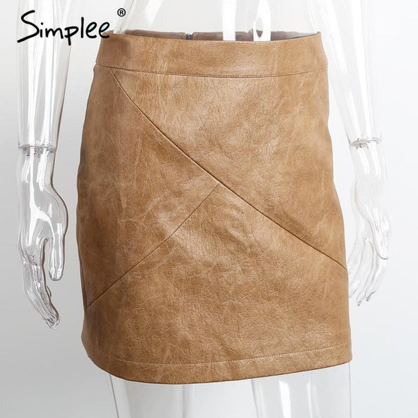 "Women high waist classic faux leather skirt ""+Shiriza.com + Spring + Summer""  Chic slim bodycon pencil skirts Casual black short skirt"