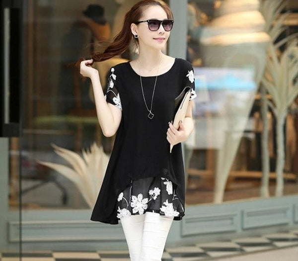 "Women Vestidos Femininos Chiffon Blouse Women Clothing ""+Shiriza.com + Spring + Summer""  Loose Short Sleeve Embroidery Flower Print Patchwork Tops"