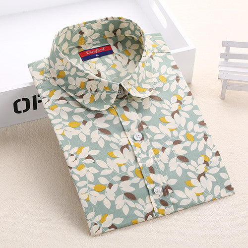 "Ladies Blouses Turn Down Collar Floral Blouse ""+Shiriza.com + Spring + Summer""  Long Sleeve Shirt Women Camisas Femininas Women Tops And Blouses Fashion"