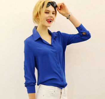 "Ladies Shirt Loose Turn-down Collar Long Sleeve ""+Shiriza.com +Spring +Winter"" Chiffon Ladies Blouse Work Wear Formal Top Blusa Femininas Plus Size Autumn"