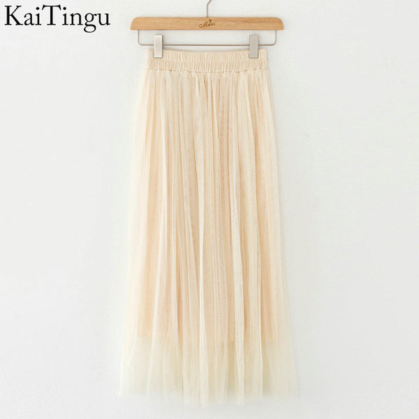 "Ladies KaiTingu Brand New Fashion Ladies Gray Color 3 Layer Pleated Skirt ""+Shiriza.com + Spring + Summer"" Long Tulle Skirts Straight Grey Solid Mesh Skater Skirt"