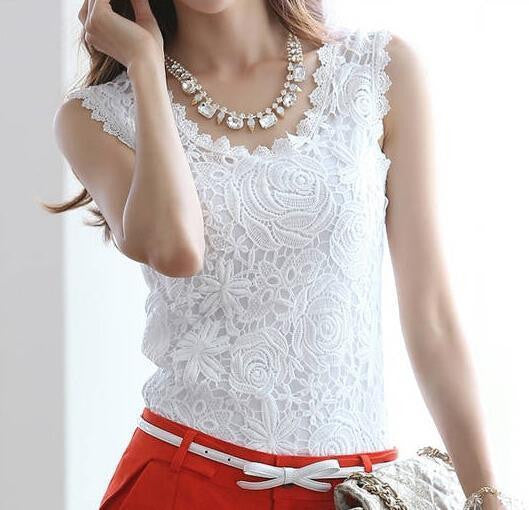 "Women Blusas Ladies Blouse Lace ""+Shiriza.com + Spring + Summer""  Vintage Sleeveless White Renda Crochet Casual Shirts Tops Plus Size S - XL"