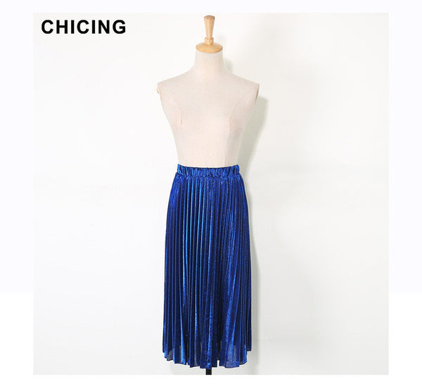 "Ladies Fashion Pleated Skirts Bling Bling Glitter Gold Flared High Waist  ""+Shiriza.com + Spring + Summer"" Tutu Party Women Spring Summer Midi Skirt"