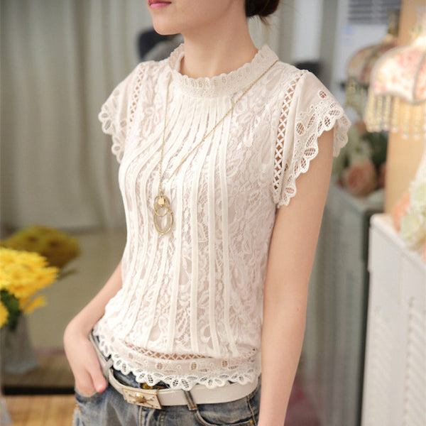 "Women Blusas Ladies Fashion Crochet ""+Shiriza.com + Spring + Summer""  Hollow out Lace Blouse Short Sleeve White Black Slim Tops Shirts"